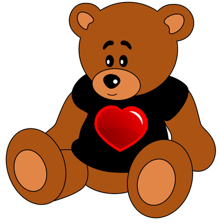 Cartoon Teddy bear in black T-shot with red heart, isolated.  animal illustration.  Ilustração