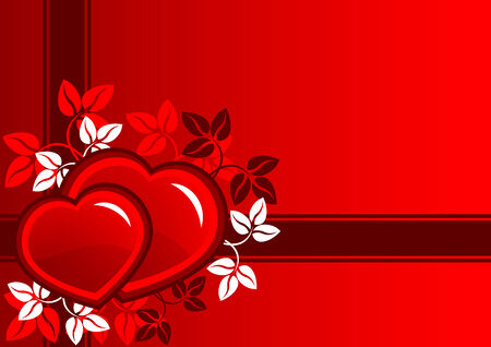 Beautiful   composition of red hearts and leaf Banco de Imagens - 7557903