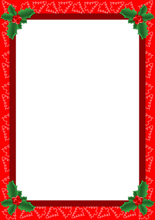 holly berry: beautiful frame with Christmas trees and holly