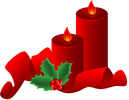 Christmas composition  with red candle, ribbon and Holly Border, isolated.  illustration