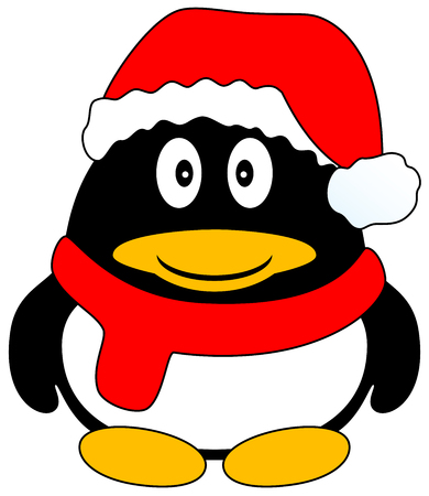 antartide: Cute cartoon felice pinguino con cappuccio rosso e sciarpa, isolato. Illustrazione vettoriale