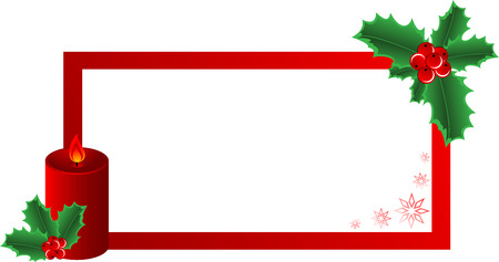 Christmas banner  made of red candle, snowflake and Holly Border with a space for text message, isolated.   illustration Ilustração