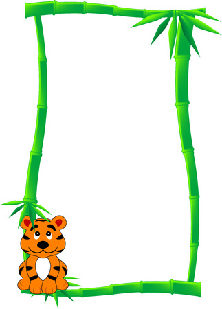 Banner or label of green bamboo canes and one black and white cartoon tiger, isolated Vector