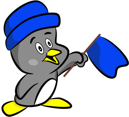 fat bird: Cute happy cartoon penguin with flag, isolated.  illustration