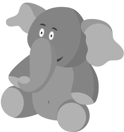 A lovable grey cartoon elephant, isolated.   illustration Vector