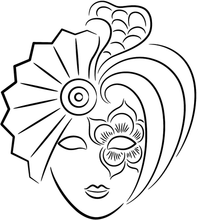 A beautiful venetian carnival mask for new year or Halloween party, isolated.   illustration.