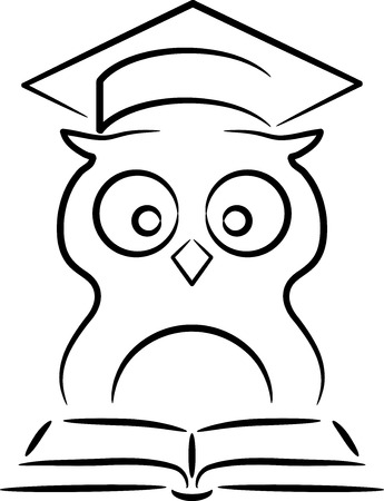 Line illustration of an owl, isolated