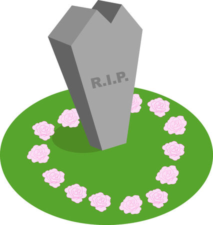 Illustration of a cartoon abstract tombstone with R.I.P written on it. Ilustração