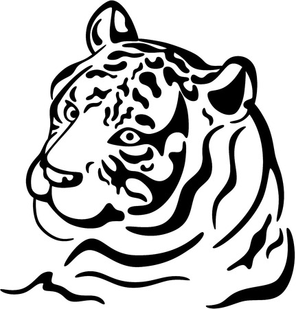 Beautiful abstract illustration of a tiger tattoo, isolated Illustration