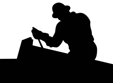 factory workers: Black Worker silhouette, isolated. illustration.