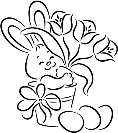 Easter rabbit in the basket with flowers and eggs, isolated. Happy Easter.   illustration. Illustration