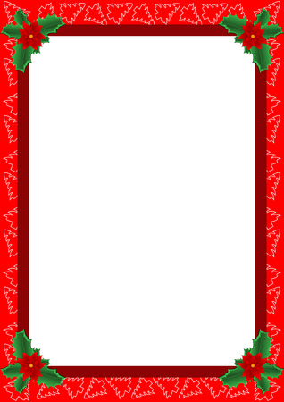 Beautiful frame with Christmas trees and Christmas Flower. Also known as Bethlehem Star, Poinsettia or Christmas Star in some countries. Ilustração