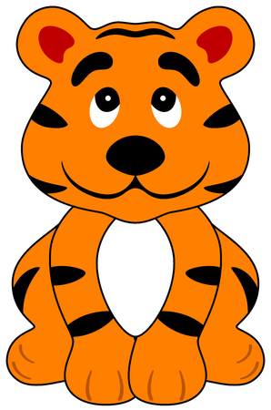 illustration of a cartoon happy tiger, isolated Illustration