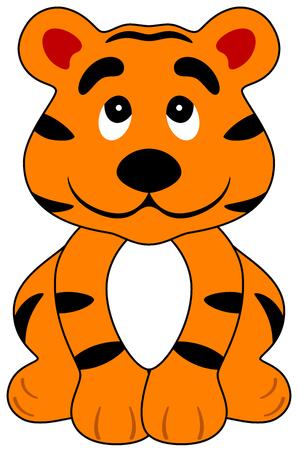 illustration of a cartoon happy tiger, isolated Illustration