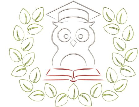 Illustration of  old wisdom owl in laurel wreath