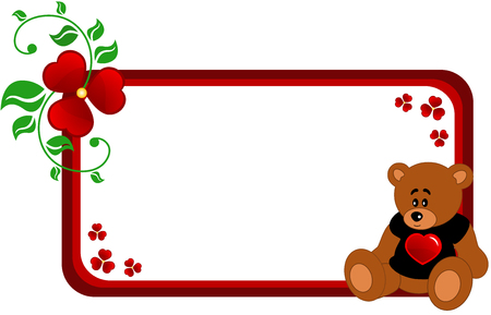 abloom: Abstract banner made of abstract flowers, leaf and Cartoon Teddy bear in black T-shot with red heart, isolated Illustration