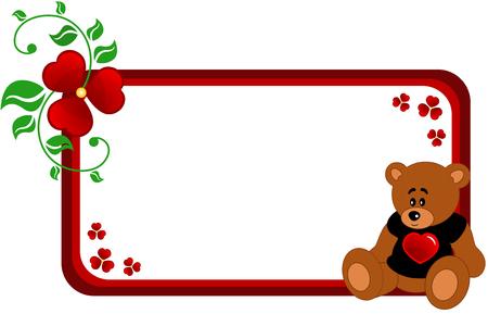 abloom: Banner abstracto hizo de flores abstractas, la hoja y el oso de peluche de dibujos animados en negro T-shot con coraz�n rojo, aislado  Vectores