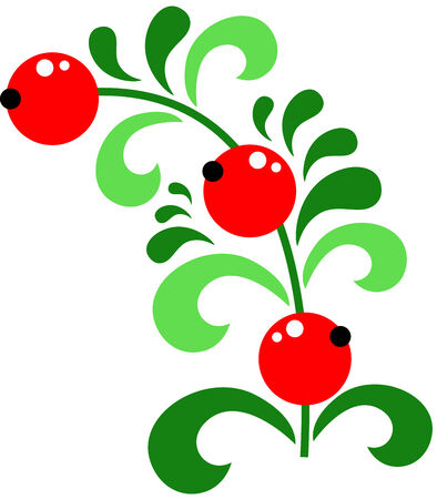 red currant: Twig of juicy red currant berry, isolated Illustration