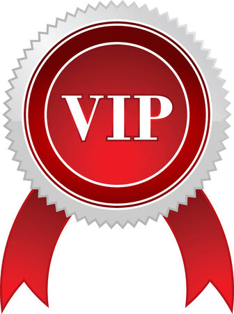 Vip badge with ribbon, isolated.  illustration