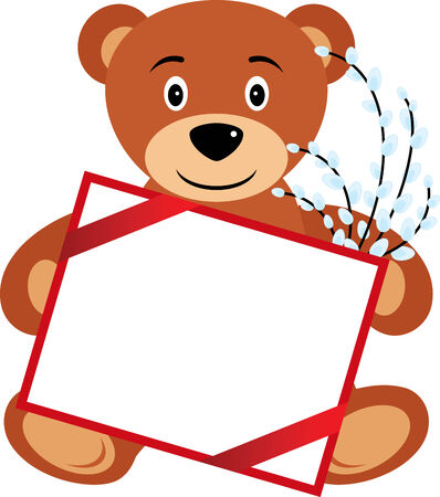 abloom: Cartoon Teddy bear with banner and pussy willow, isolated. Vector illustration