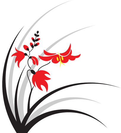 Japanese style bush with red flowers, isolated  Stock Vector - 8031952