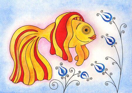 Hand drawn illustration of a cute goldfish. Watercolor. Stock Illustration - 8240658