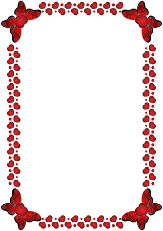 Beautiful Frame of red hearts, isolated. Vector illustration.