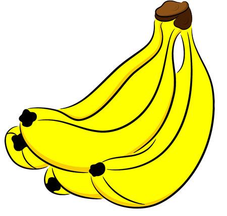 고립 잘 익은 노란 바나나의 그림 일러스트
