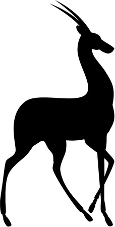 Vector illustration of graceful antelope silhouette, isolated.