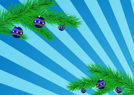 Christmas background with a fur-tree and blue balloons.  photo