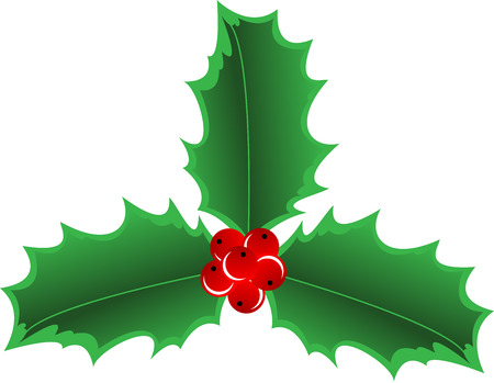 Illustration of christmas Holly Border, isolated Vector