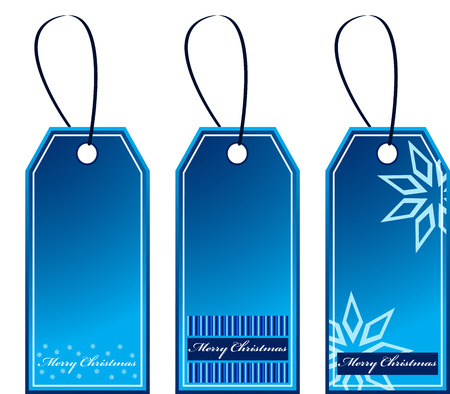 Blue Christmas Gift Tags that can be used separately, isolated Stock Vector - 8468405