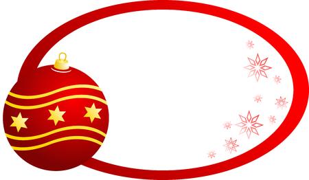 ovalo: Banner de Navidad con bola de Navidad Roja, aislado