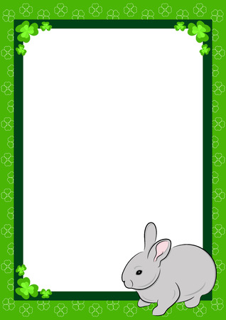 Beautiful frame with  green clover and domestic rabbit, illustration Vector