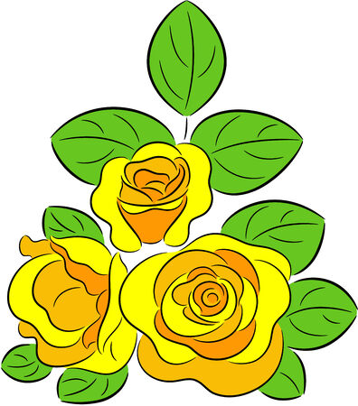 gele rozen: Illustratie van de drie gele rozen, geïsoleerd.