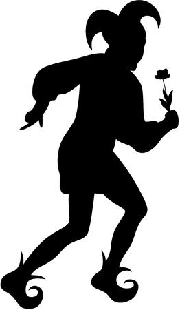 giullare: Silhouette di clown con fiore, isolato
