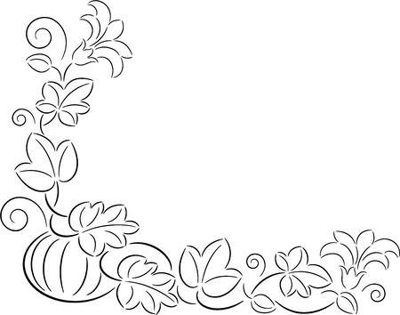 Illustration de la citrouille mûre avec des feuilles et des fleurs, isolé Vecteurs