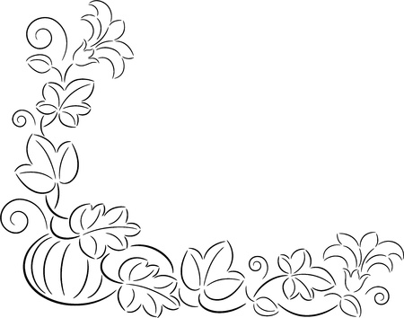 Illustration of ripe pumpkin with leaves and flowers, isolated Vector