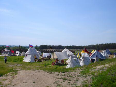 Few knight tents during historical festival. Ukraine - May the 21, 2011: International Festival - Kievan Rus - XIII century  Banco de Imagens - 9654576