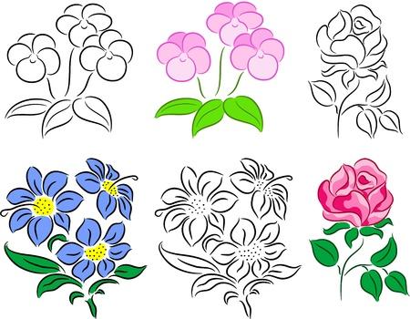 contorno: Conjunto de flores, aislado.