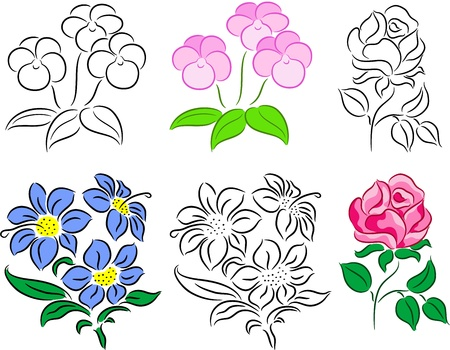 outline flower: Set of flowers, isolated.