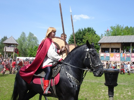 rus: Ukraine - May the 21, 2011: International Festival - Kievan Rus - XIII century. Russian Cavalry. Editorial