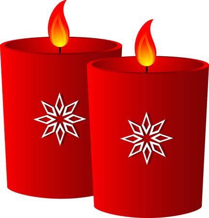 Christmas red candle with snowflake, isolated  Vector illustration Stock Vector - 9717978