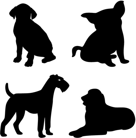 Illustration of a funny dog silhouettes, isolated Ilustração