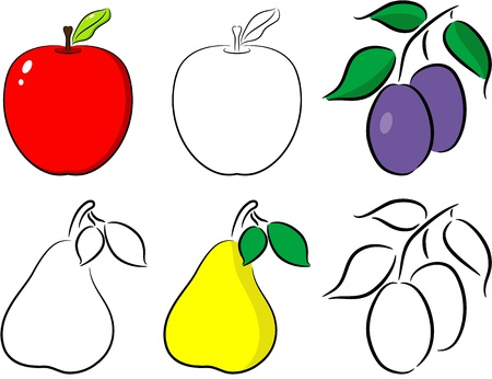 Illustration of rip fruit apple, pear and plum , isolated Vector