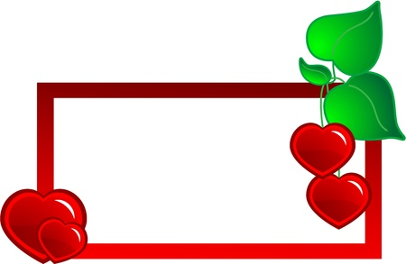 Decorative banner or label illustration with red hearts  Vector