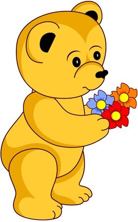Cartoon Teddy Bear with flowers, isolated.