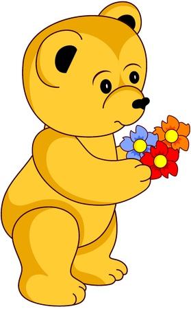 cartoon bouquet: Cartoon Teddy Bear with flowers, isolated.