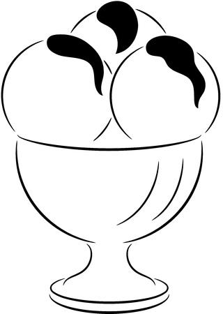 coppa di gelato: Una crema contorno ghiaccio, isolata. Vector illustration