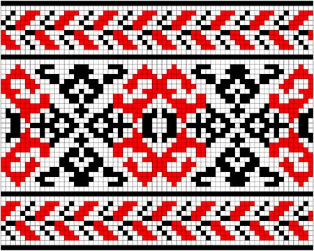 ukrainian: Illustration of Ukrainian embroidery ornaments with geometric motives Illustration